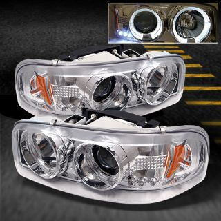99 06 GMC Sierra Yukon Chrome Clear Dual Halo Projector LED Headlights Lamp Pair