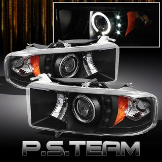 Black 99 01 Dodge RAM Sport Model Halo Projector LED Headlights Light Left Right
