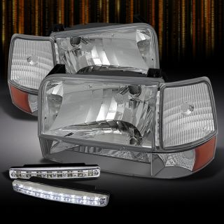 92 96 Ford F150 F250 F350 Crystal Clear Headlights Lamps DRL LED Running Lamps
