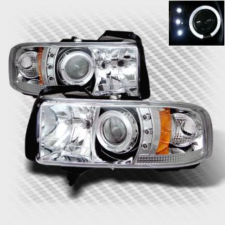 1994 2001 Dodge RAM Halo LED Projector Headlights Head Lights Pair Lamp Set