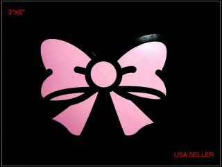 Pink Bow Tie Decor Sticker Auto Car Bumper Window Vinyl Decal Girlie Fun Gift