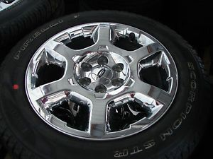 "4 20"" Ford F 150 Expedition XLT Lariat Chrome Wheels Rims Pirelli Tires"