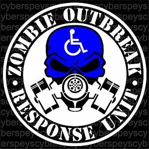 Handicap Zombie Outbreak Response Unit Design Vinyl Stickers Car Decals