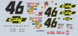 46 Cole Trickle G Sacks City Chevrolet NASCAR Decals 1 32 Scale Slot Car Decals
