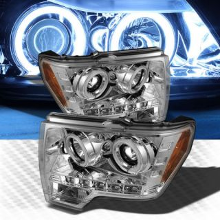 Dual CCFL Halo LED 2009 2013 Ford F 150 Projector Headlights Pair Head Lights