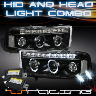 1994 2001 Dodge RAM Twin Halo LED Projector Black Head Lights Slim 6000K HID Kit