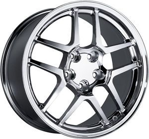 "18"" Staggered Chrome Corvette Z06 Wheels Rims C4 C5"