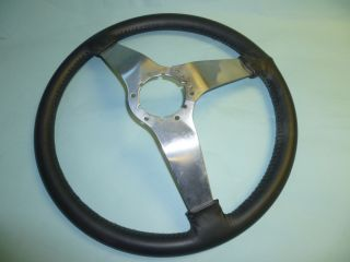 Black Leather Steel 3 Spoke Corvette Steering Wheel C3 1977 82