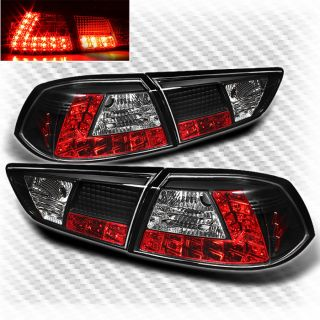08 12 Mitsubishi Lancer EVO x 10 LED Black Tail Lights Rear Brake Lamp Pair Set