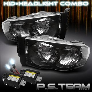 Details about 02 05 DODGE RAM PICKUP BLACK CRYSTAL HEADLIGHTS LIGHTS
