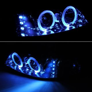 99 04 Ford Mustang Twin Halo LED Projector Headlights Lamp Head Lights Pair Set