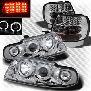 99 01 Audi A4 S4 4 Door Dual Halo Projector Headlights LED Tail Head Lights Set