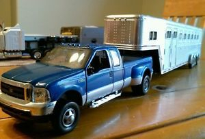 Ford Blue F 350 FX4 Dually Pickup Truck with Large Horse Trailer 1 32