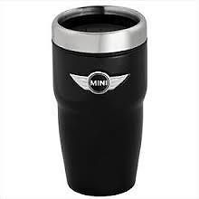 Mini Cooper Black Wing Coffee Tea Travel Mug Cup Thermos 12 oz Capacity New