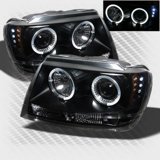 1999 2004 Jeep Grand Cherokee Halo LED Projector Headlights Black Head Lights