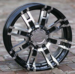 "17"" Black Rims Tires 6x139 Chevy GMC Titan Toyota 285 70 17 Nitto Trail Helo 835"