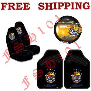 New Set Ed Hardy King Bulldog Seat Covers Steering Wheel Cover Floor Mats
