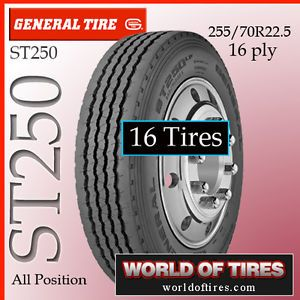 16 Tires General ST250 255 70R22 5 22 5 Semi Truck Tires 255 70 22 5 25570
