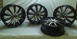 "Lot of 4 Helo HE851 Gloss Black Wheels with Machined Face 22x8 5"" 5x114 3mm"