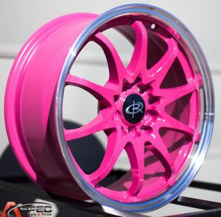16x7 Rota Fighter 10 5x100 114 3 40 Royal Pink Wheel Fits Matrix Golf Civic RSX