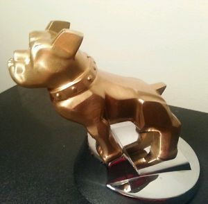 Vintage Gold Mack Truck Bulldog Hood Ornament 87931 on Original Chrome Mount