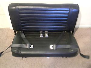 Am General Hummer H1 3rd Row Black Ebony Leather Auxiliary Bench Jump Seat