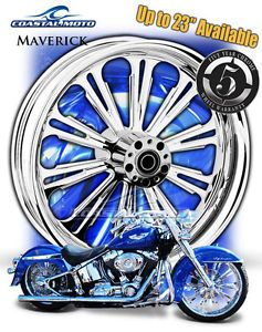 "Coastal Moto Maverick Chrome Motorcycle Wheel 21"" Harley Front Package w Tire PM"