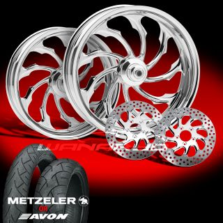 "PM Torque Chrome 21"" Wheels Tires Package Set 2014 Harley FLH Touring Bagger"
