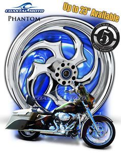 "Coastal Moto Phantom Chrome Motorcycle Wheel 21"" Harley Front Package w Tire PM"