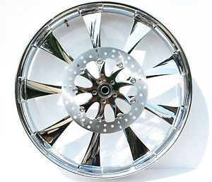 "Renegade Lincoln Chrome 21"" Wheels Package Set Tires Harley FLH Flt 02 07"