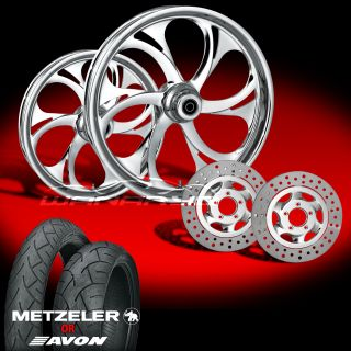 "Recoil Chrome 21"" Wheels Tires Dual Rotors for 2009 13 Harley Touring"
