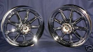 Harley Davidson Chrome Wheels Fatboy Softail Heritage 9 Spoke O E M FLST Rims