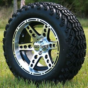 "New 14X7 Silver Dominator Golf Cart Wheels and 23"" All Terrain Tires"