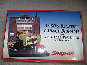 1934 Ford Box Truck and Accessories with 1930's Garage Snap on Diorama NIB