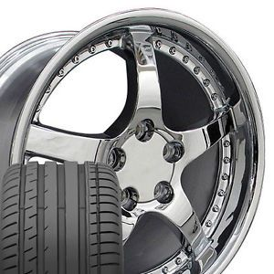 "17"" 18"" 9 5 10 5 Chrome C5 Deep Dish Wheels Tires Rims Fit Camaro Corvette"