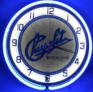 "Chevy Motors 18"" Neon Clock Parts Dealer Garage Logo Emblem Car Lot Sign Camaro"