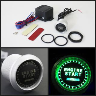 Green LED Push Start Ignition Engine Button Starter Switch Car Truck Auto