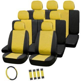 22pc Full Set Yellow Black Auto Van Seat Covers Bucket Bench Wheel Head Belt Pad