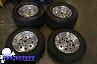 "15"" Weld Draglite Drag Racing Wheel Tire Set Nitto Extreme Drag Radial Tires"
