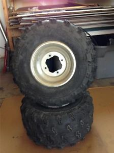 Yamaha Banshee Raptor YFZ ATV Rear Wheels and Dunlop Tires Nice Shape