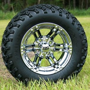 New 12x7 Chrome Specter Golf Cart Wheels and All Terrain Sahara Classic Tires