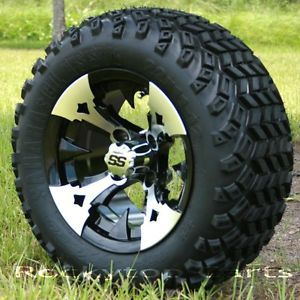 New 12x7 Battle Axe Golf Cart Wheels and All Terrain Sahara Classic Tires