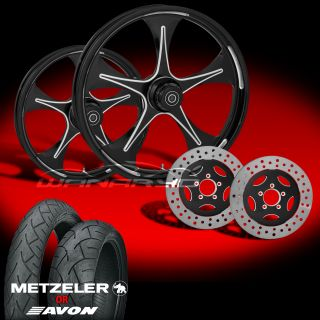 "Stratos Eclipse 21"" Wheels Tires Dual Rotors for 2000 07 Harley Touring"