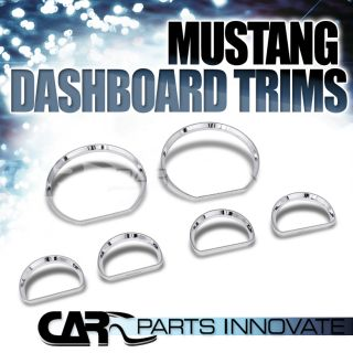 Ford 94 04 Mustang 6pcs Dashboard Gauge Bezel Trims Covers Chrome