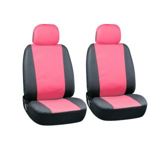 6pc Set Pink Black Synthetic Faux Leather Low Back Front Bucket Auto Seat Covers