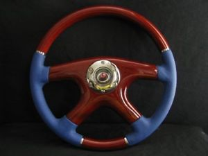 "New 15"" Blue Leather Wood Grain Steering Wheel"