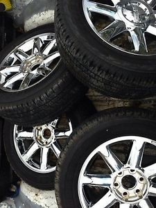 "20"" inch GMC Sierra Yukon Denali Chrome Wheels and Bridgestone Dueler Tires"