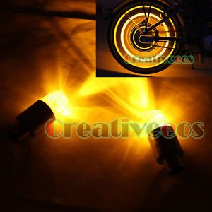 2X LED Bike Motorcycle Wheel Tyre Tire Valve Caps Covers Neon Lights Yellow