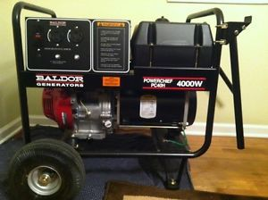 New 4000 Watt Baldor Generator w Gasoline Honda Engine with Wheel Kit