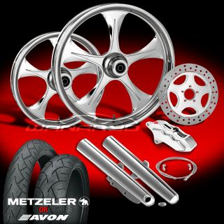 "Stratos Chrome 21"" Wheels Tires Single Disk Kit for 2000 08 Harley Touring"